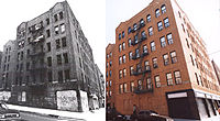 Before and after rehabilitation, now low-income housing.