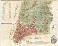 """The Mangin–Goerck Plan of 1801; the """"warning label"""" can be seen at the bottom under """"Plan of the City of New York"""""""