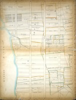 """One of Randel's 92 detailed """"Farm Maps"""", showing how the Manhattan grid would sit on the island's topography and extant farms and homesteads. This one is bounded by West 36th Street, Sixth Avenue, West 15th Street, and the Hudson River."""