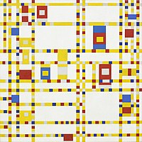 Dutch artist Piet Mondrian drew inspiration from the vibrancy of the grid, displaying it in paintings such as Broadway Boogie Woogie (1942).