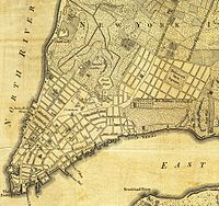 A portion of a map of the city from 1776; De Lancey Square and the grid around it can be seen on the right