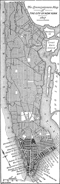 A modern redrawing of the 1807 version of the Commissioners' grid plan for Manhattan, a few years before it was adopted in 1811
