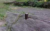 This one of John Randel's survey bolts marked the location of what would have been Sixth Avenue and 65th Street; the location later became part of Central Park