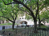 """The park-like grounds of the American Museum of Natural Historycalled """"Theodore Roosevelt Park"""" since 1958, but officially part of Central Parkis the only one of the planned public spaces of the Commissioners' Plan which still exists; it was to be """"Manhattan Square""""."""