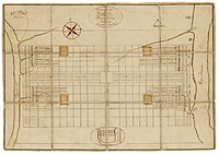 """""""A Portraiture of the City of Philadelphia"""" (1683) by Thomas Holme, the first map of the city."""