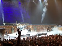 Iron Maiden performing in Toronto during the Somewhere Back in Time World Tour 2008. The stage set largely emulated that of the World Slavery Tour 1984–85.