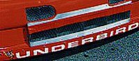 """""""Underbird"""" lettering on the car's front bumper"""