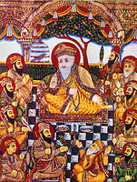 A rare Tanjore style painting from the late 19th century depicting the ten Sikh Gurus and Bhai Bala and Bhai Mardana