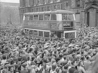 Britons gathered in Whitehall to hear Winston Churchill's victory speech on 8 May 1945