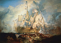 The Battle of Trafalgar by J. M. W. Turner (oil on canvas, 1822–1824) combines events from several moments during the Napoleonic Wars' Battle of Trafalgar—a major British naval victory upon which Britishness has drawn influence.