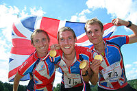 The British gold medalist relay team of the 2008 World Orienteering Championships.