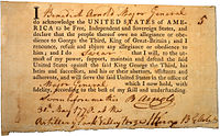 Arnold's Oath of Allegiance, 30 May 1778
