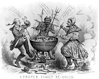 An 1865 political cartoon depicting Benedict Arnold and Jefferson Davis in hell