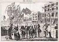 A 1766 political cartoon on the repeal of the Stamp Act
