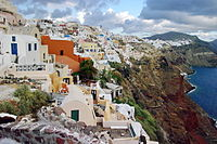 Santorini, a popular tourist destination, is ranked as the world's top island in many travel magazines and sites.