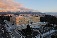 The building of the Hellenic Parliament (Old Royal Palace) in central Athens.