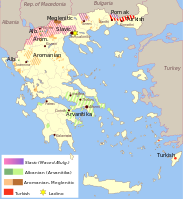 Regions with a traditional presence of languages other than Greek. Today, Greek is the dominant language throughout the country.