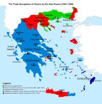 The Axis occupation of Greece. Blue indicates the Italian, red the German and green the Bulgarian. (in dark blue the Dodecanese, Italian possession since 1912)
