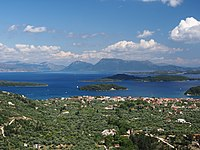 The Greek mainland and several small islands seen from Nydri, Lefkada