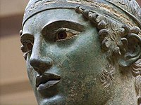 Close-up of the Charioteer of Delphi, a celebrated statue from the 5th century BC.