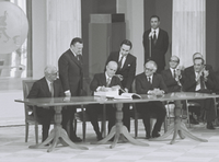 Signing at Zappeion by Constantine Karamanlis of the documents for the accession of Greece to the European Communities in 1979.