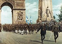 Hellenic Army formation in the World War I Victory Parade in Arc de Triomphe, Paris, July 1919.