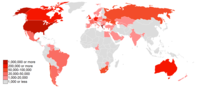 A map of the fifty countries with the largest Greek diaspora communities.