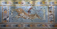 """Fresco displaying the Minoan ritual of """"bull leaping"""", found in Knossos"""
