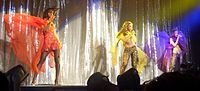 The final line-up of Destiny's Child performing during their 2005 Destiny Fulfilled... and Lovin' It concert tour.