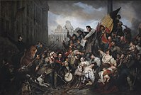 Episode of the Belgian Revolution of 1830 (1834), by Gustaf Wappers