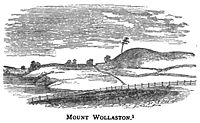 View of Mount Wollaston as it appeared in 1840, virtually unchanged from the time of initial English settlement in 1625. The central part of this sketch was adopted as the seal of Quincy.