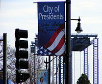 City of Presidents banner previously displayed on Route 3A. The temporary Fore River Bridge can be seen in the background.