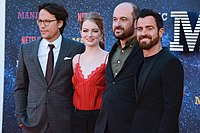 Cary Joji Fukunaga, Emma Stone, Patrick Somerville and Justin Theroux at the premiere of Maniac in London