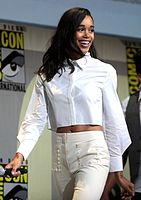 Harrier at the 2016 San Diego Comic-Con promoting Spider-Man: Homecoming