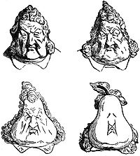 Famous 1831 caricature of Louis Philippe turning into a pear mirrored the deterioration of his popularity (Honoré Daumier, after Charles Philipon, who was jailed for the original)