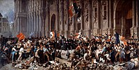 Alphonse de Lamartine in front of the Town Hall of Paris rejects the red flag on 25 February 1848, during the February 1848 Revolution
