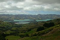 View of Port Louis-Philippe, the oldest French colony in the South Pacific, often referred to nowadays by its indigenous name Akaroa