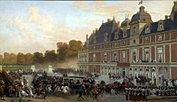 Queen Victoria arrives at the Château of Eu during her visit in 1843