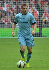 Milner playing for Manchester City in the 2014 FA Community Shield