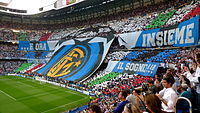 The Inter Milan fans unfurled a huge banner prior to kick-off.