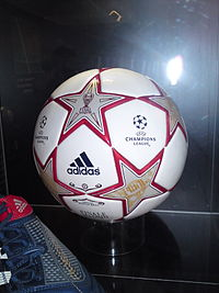 A ball from the final on display at the 2011 UEFA Champions Festival in Hyde Park, London.