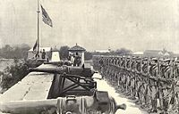An American flag raised at the Fort Santiago, 1898. Fort Santiago was a citadel that was a part of the Intramuros, a walled city within Manilla.