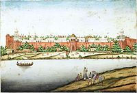 View of the Red Fort from the river (by Ghulam Ali Khan, between c. 1852–1854