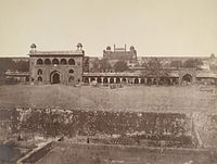 Naubat Khana and the courtyard before its destruction by the British, in an 1858 photograph