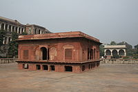Red Zafar Mahal and white Sawan/Bhadon pavilion behind it in the Hayat Bakhsh Bagh