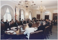 President Bush participates in a full cabinet meeting in the Cabinet Room in July 1992