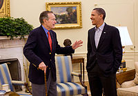 Bush meets President Barack Obama in the Oval Office, January 30, 2010