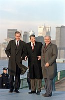Vice President Bush standing with President Ronald Reagan and Soviet leader Mikhail Gorbachev on the New York City waterfront in 1988
