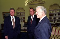 President Bill Clinton meeting with former presidents George H.W. Bush and Jimmy Carter at the White House in September 1993