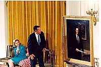 The unveiling of an official portrait of George H. W. Bush at the East Room of the White House, 1995